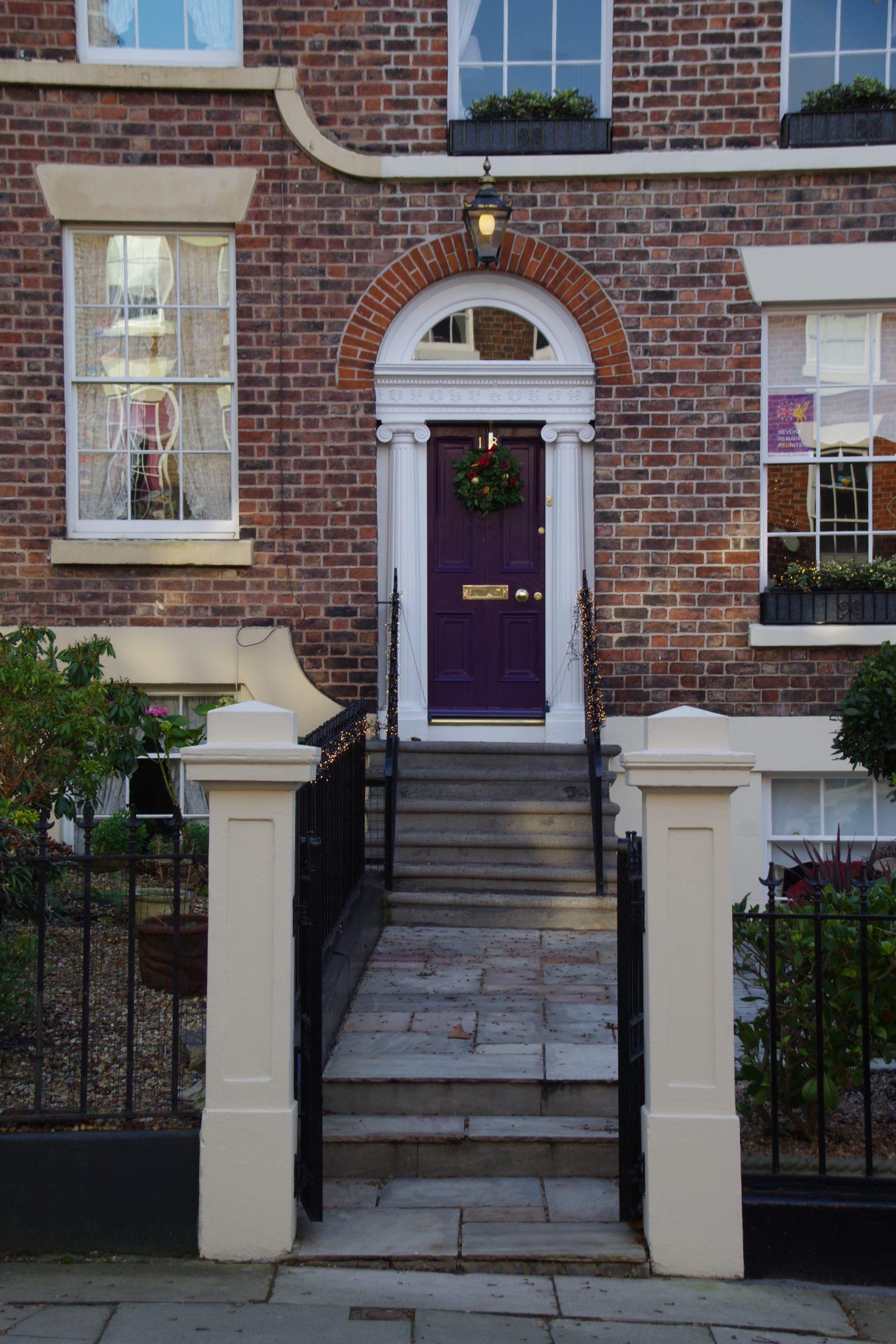 Purple Christmas doorway