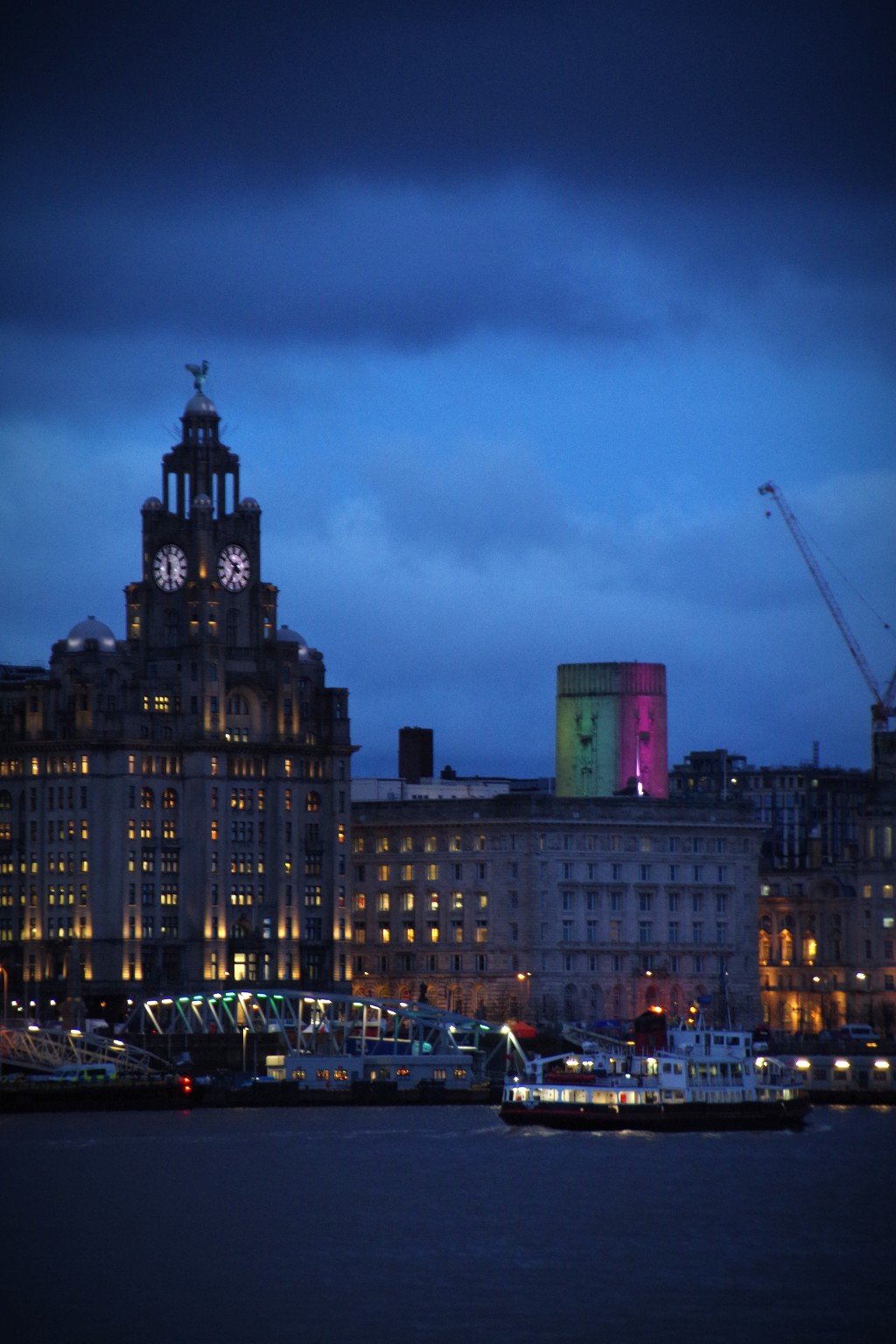 The Liver Buildings and the Royal Iris at Dusk