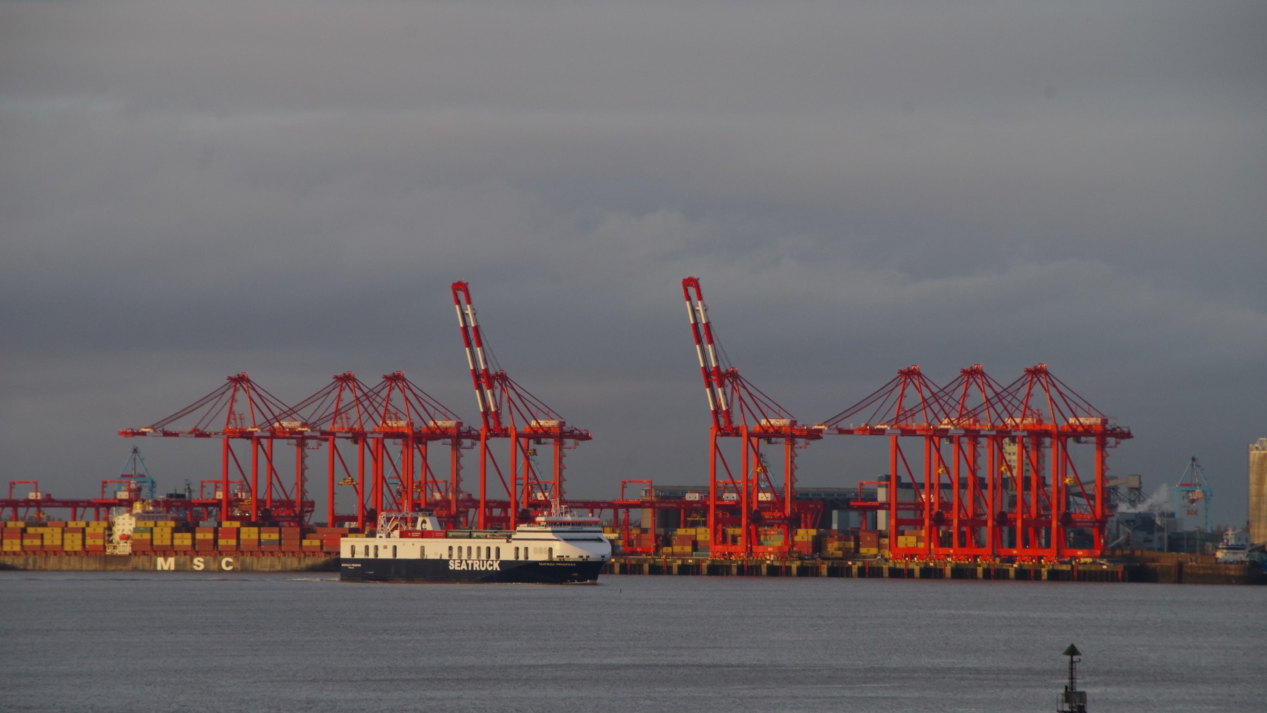 Liverpool Dock Cranes in the Winter Twilight