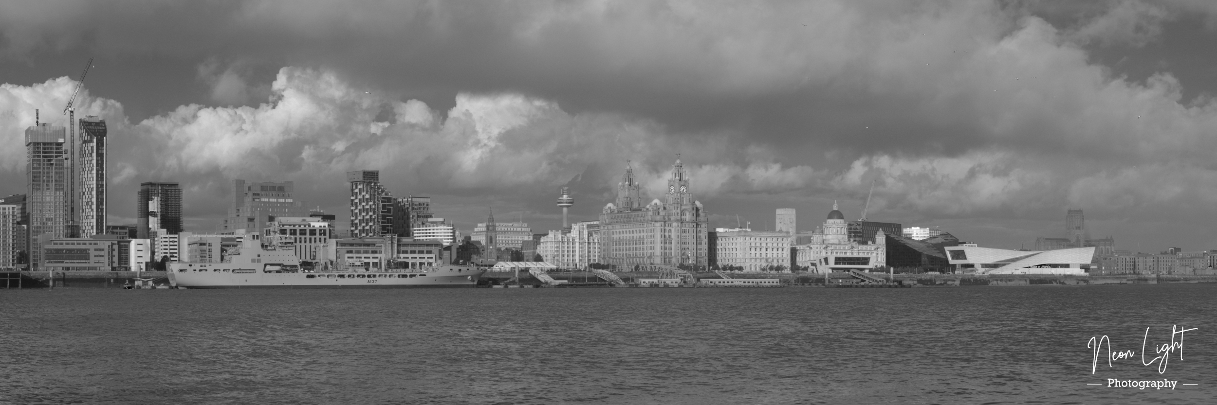 Black and White Liverpool Skyline