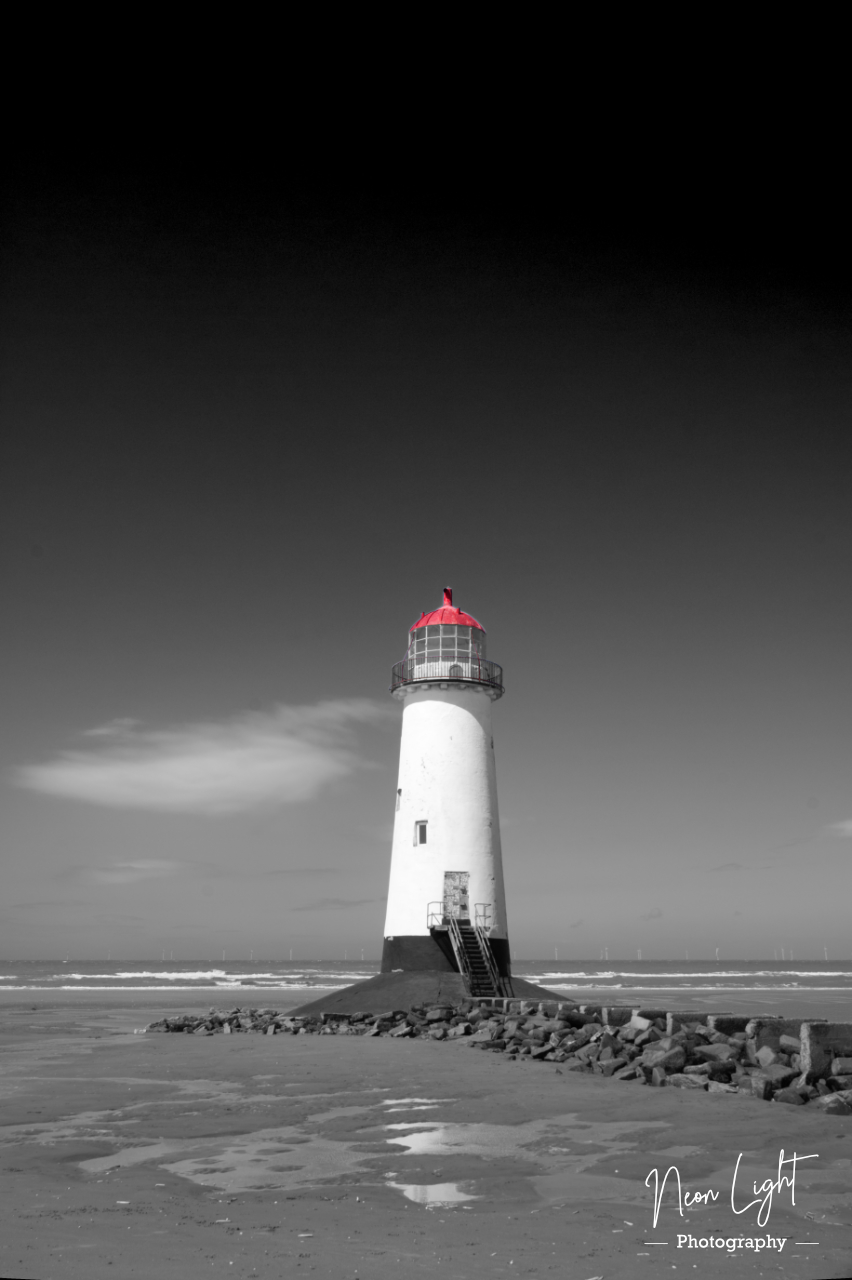 Black white and Red Point of Ayr Lighthouse