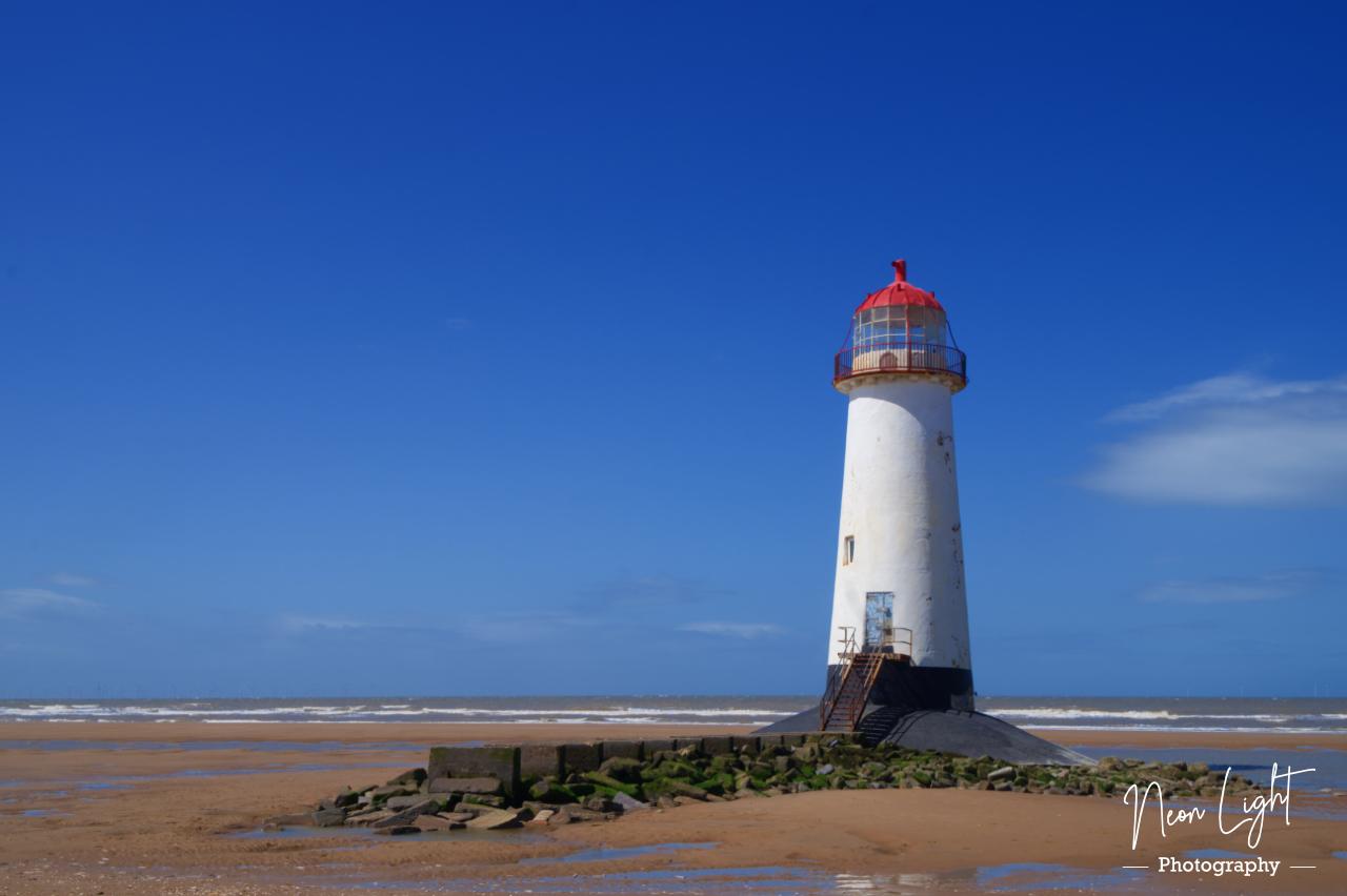 Point of Ayr lighthouse on the beach