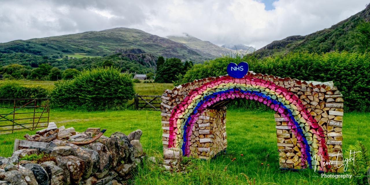 Rainbow Logs for the NHS at Beddgellert